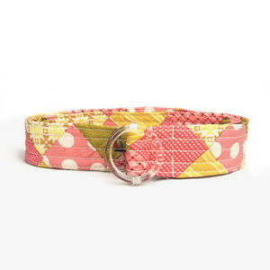 J.Crew Silk Belt Quilted Nautical Pink Yellow Gold